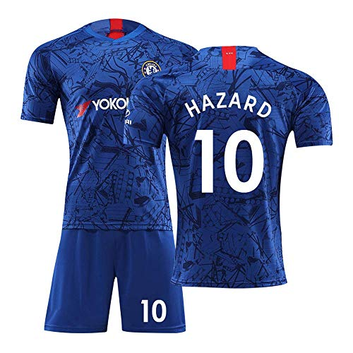 (JBIVWW Football Uniform Kit - Chelsea Football Club 18-19 New Home Hazard 10# Jersey, Soccer Training T-Shirts and Shorts Gifts for Mens and Boys)