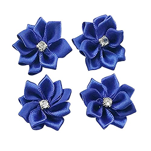 (DANDAN DIY Upick More Than 26 Colors 40PCS Satin Ribbon Flowers Bows Rose w/ Rhinestone Appliques Craft Wedding Dec (D-blue))