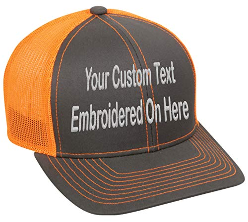 Custom Trucker Mesh Back Hat Embroidered Your Own Text Curved Bill Outdoorcap (Charcoal/Neon Orange)
