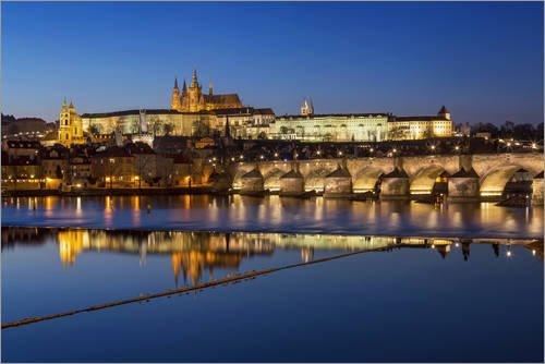 Posterlounge Acrylic print 30 x 20 cm: Prague - Classical skyline with Charles Bridge and Castle by Frank Herrmann