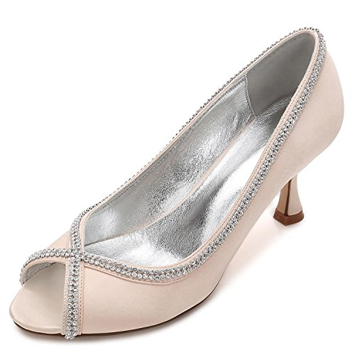 L@YC Women Wedding Shoes Diamond Stitching Lace Peep Toe Summer Prom(Custom Made