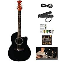 Ovation AB24-5-KIT-1 Applause Balladeer Acoustic-Electric Cutaway Guitar with Chromacast Accessories, Black