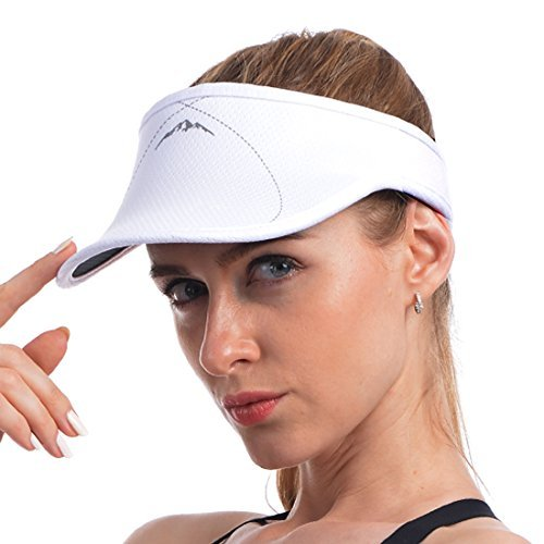 UShake Sports Visor for Man or Woman in Golf Running Gogging with Black/White Colors (White) ()
