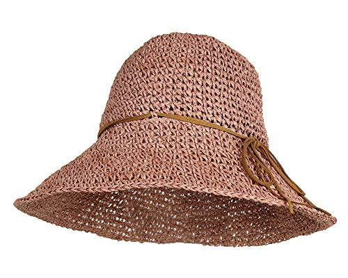 Rose Packable Handwoven Crochet Straw Sun Hat w/ 4.5