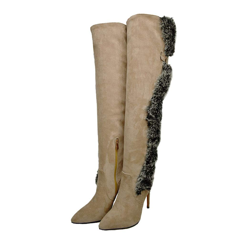 Beige Fashion Over The Knee Boots, High-Heeled Pointed High Boots Side Zipper Stretch Knight Boots Waterproof Platform Long Boots Women's Frosted Warm shoes