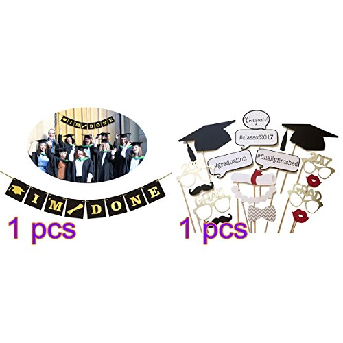 OULII 17pcs Graduation Party Phtoto Booth Props Graduation Banner I'M DONE Graduation (Party Personalized Photo Banner)