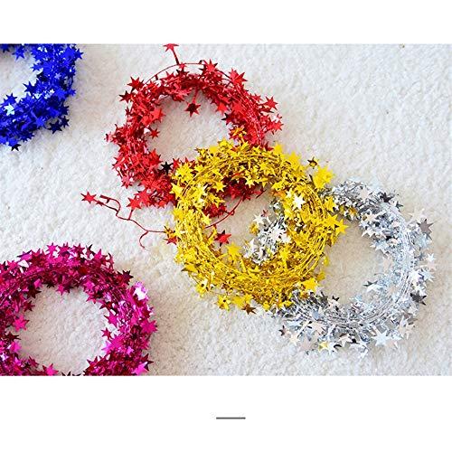 Rouge Panamami 7.5 M Arbre De No/ël Suspendus /Étoiles De No/ël D/écorations Couleur Bar Fil /À Cinq /Étoiles Guirlande Rotin Color/é Guirlande