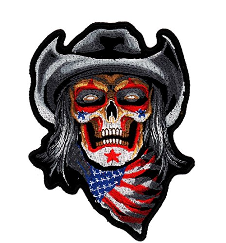 Rodeo Clown Cowboy Skeleton Embroidered Biker Patch Iron or Sew HLPM10072