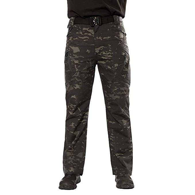 Pantalones Largos Cargo para Hombre, Múltiples Bolsillos,Laborales,Casuales,Recto,Suelto