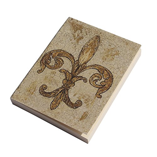 Handmade Pocket Diary, Fleur-de-lis, Eco-Friendly, Acid-Free Handmade Paper, Flat Open, Soft Cover, A7 size, 125 GSM, 100 Blank Pages (Set of 2)
