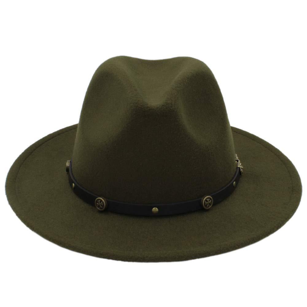 Breiter Sonnenhut, Winter Fedora Hut Männer Frauen Wollfilz Jazz Hut Vintage Panama Cap Für Frauen (Farbe : Green, Größe : 56-58cm)