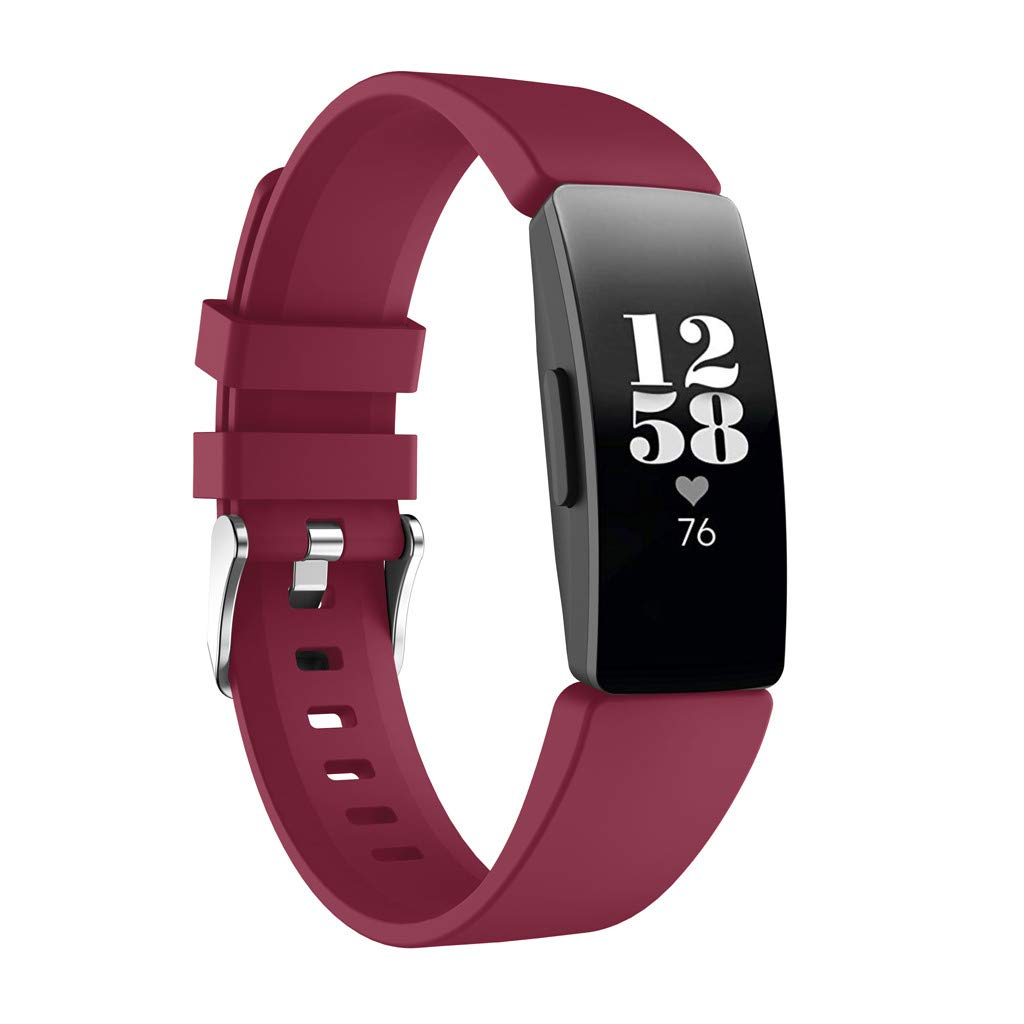 For Fitbit Inspire/Inspire HR,Shaoshao Replacement New Fashion Sports Silicone Wristband Band Strap Bracelet (Wine)