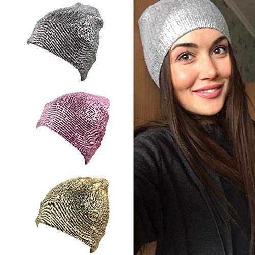BSGSH Beanie Hat for Men Women Unisex Fashion Glittering Knit Hat Cap Warm, Stylish and Soft (Pink) by BSGSH (Image #2)