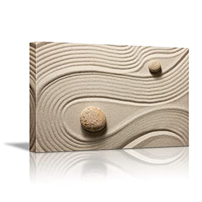 Canvas Wall Art - Zen Garden/Zen Stone and Sand | Modern Home Art Canvas Prints Giclee Printing Wrapped & Ready to Hang - 32