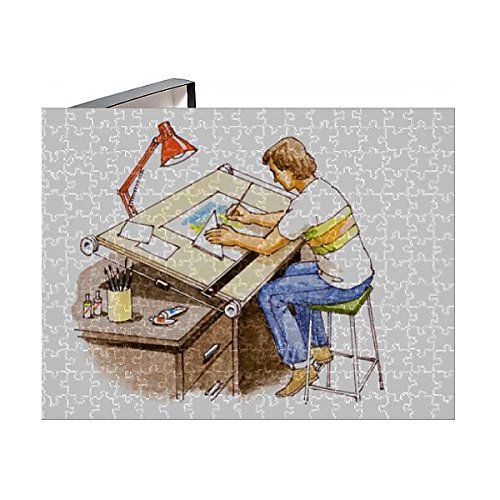 Draftsmans Lamp - Media Storehouse 252 Piece Puzzle of Draftsman Working at Desk in Office, elavated View (13558613)