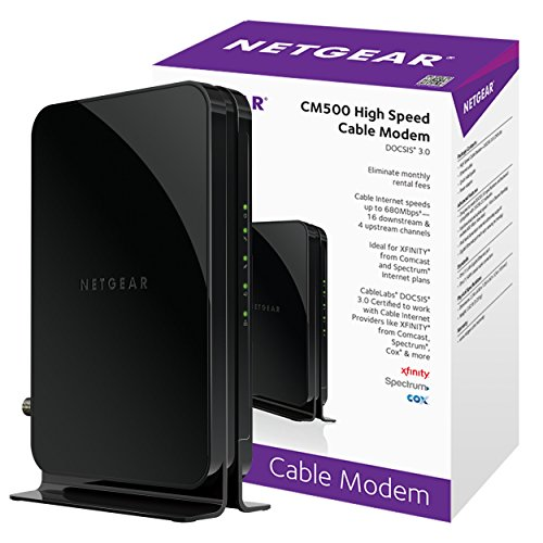 Netgear Cm500 1Aznas  16X4  Docsis 3 0 Cable Modem  Max Download Speeds Of 686Mbps  Certified For Xfinity From Comcast  Spectrum  Cox  Cablevision   More