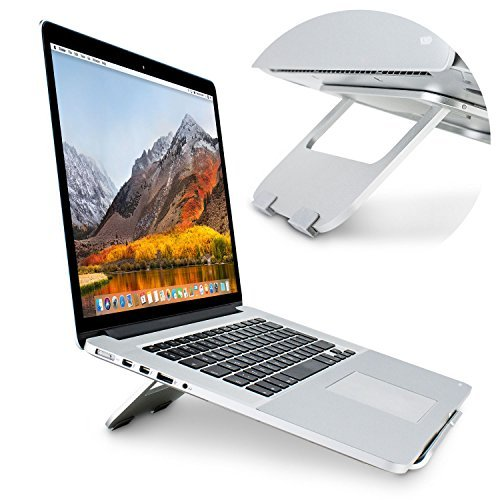 Olixar Foldable Laptop Stand For Desk - Portable Metal Design ErgoRiser - Ergonomic & Ventilated Tablet (Ventilated Metal)