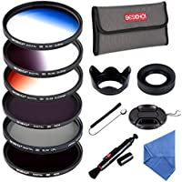 Beschoi 58mm ND Lens Filter Kit (CPL+ND4+ND8, Graduated Color Orange, Blue, Gray) with Cleaning Cloth +Cleaning Pen + Petal Lens Hood + Lens Cap + Filter Bag Pouch + Collapsible Rubber Lens Hood)