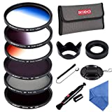 Beschoi 58MM ND Filter Kit (ND4 + ND8), Graduated Color Filter Set (Orange, Blue, Gray), CPL Filter, Collapsible Rubber Lens Hood, Tulip Lens Hood Bundle for Camera Lenses with 58mm Filter Thread