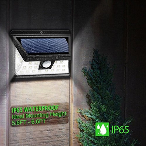 HighlifeS New 36 LED Solar Lights with Wide Angle Illumination,Outdoor Motion Sensor Waterproof Wall Light Wireless Security Night Light with 3 Modes for Driveway Garden Step Stair Fence Deck by HighlifeS