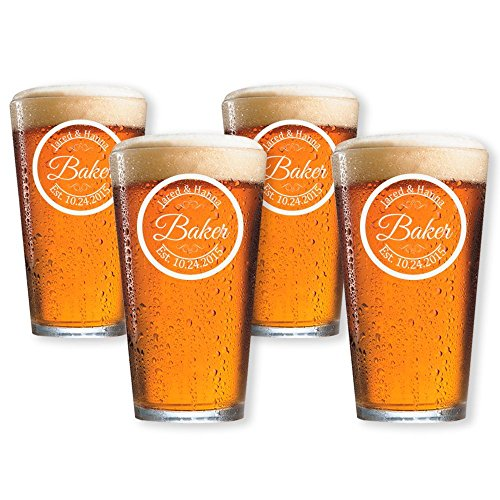 Personalized Beer Glass, Customized Pint Glass, Set of 4 Housewarming Gifts, Wedding Favors, -