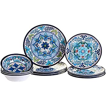 Certified International 12 Piece Talavera Melamine Dinnerware Set Multicolor  sc 1 st  Amazon.com & Amazon.com | Certified International 12 Piece Talavera Melamine ...