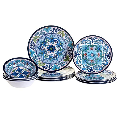 Certified International TAL12PC Talavera Melamine 12 pc Dinnerware Set, Service for 4, Multicolored ()