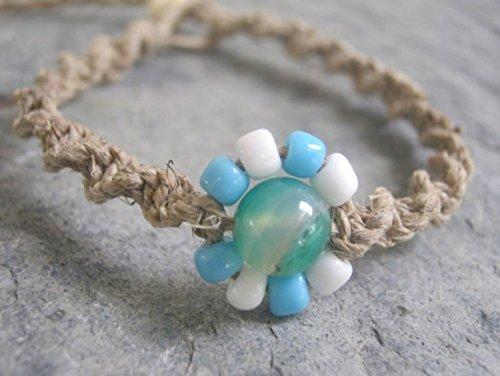 Hemp Jewelry Handmade (Adjustable Hemp Bracelet with Blue and White Flower, Blue Agate Macrame Jewelry, Handmade in USA)