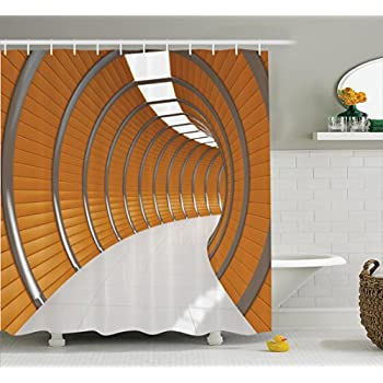 Ambesonne Apartment Decor Shower Curtain Set Modern Illuminated Long Corridor Contemporary Geometric Structure Tunnel Picture Bathroom Accessories