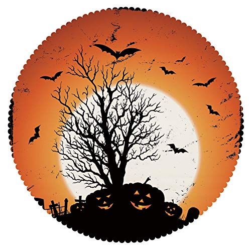 (iPrint Stylish Round Tablecloth [ Vintage Halloween,Grunge Halloween Image with Eerie Atmosphere Graveyard Bats Pumpkins,Orange Black ] Decorative)