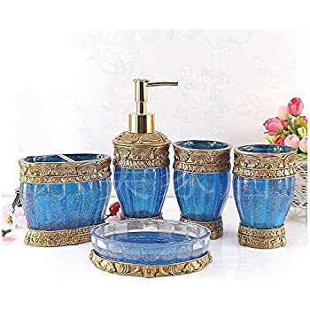 Vintage Blue Bathroom Accessories, 5Piece Bathroom Accessories Set, Bathroom  Set Features , Soap Dispenser