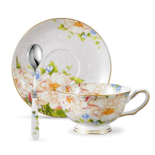 - Panbado Bone China 6.8oz Coffee Cup with Saucer and Spoon, Set of 3 - Light Yellow Flower