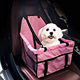 Puppy Car Seat, Homa Pet Dog Booster Car Seat Travel Safety Seat Belt Harness Cover Pet Traveling Carrier Bag with Clip-On Safety Leash and Zipper Storage Pocket (Pink)