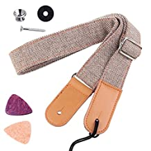 OPOCC Ukulele Strap Country Style Soft Cotton Linen,Adjustable Ukulele Strap  -  Genuine Leather Ukulele Shoulder Strap,2 pack Ukelele Picks (LightGray)