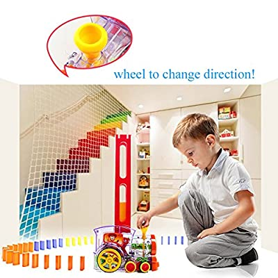 Child Intelligence Domino Electric Train Domino Car with Acousto-Optic Automatic Pendulum Chess Pieces an Electric Car / Birthday Gift: Toys & Games