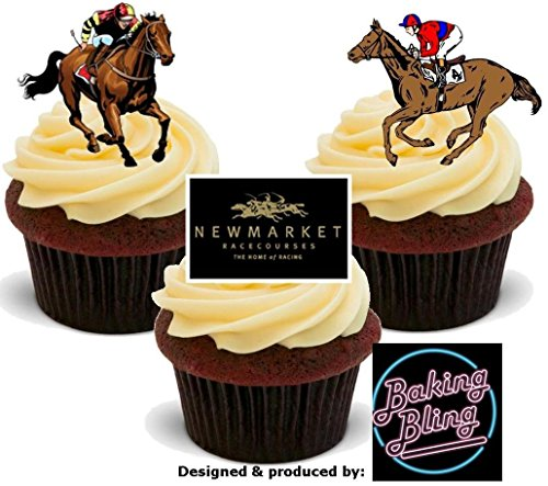 12 x Horse Racing Newmarket Racecourse Races Mix - Fun Novelty Boys Birthday PREMIUM STAND UP Edible Wafer Card Cake Toppers -
