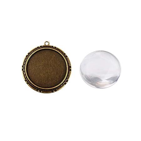 Arricraft impostazioni di 6/set in lega di bronzo antico ciondolo cabochon con vassoio rotondo cabochon di vetro per ciondolo fai da te 40/mm