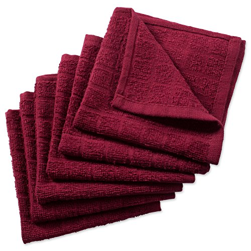 DII Cotton Terry Windowpane Dish Cloths, 12 x 12 Set of 6, Machine Washable and Ultra Absorbent Kitchen Bar Towels-Solid Wine