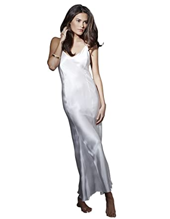 Eva B. Bitzer Silk Classic Pearl White Spaghetti Strap Long Nightdress  27319898 XXLge 12a9dcd8e