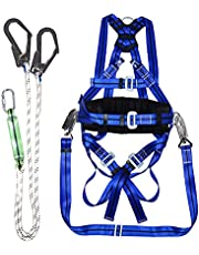 Fall Arrest Harness,Full Body Fall Arrest Harness,Multipurpose Outdoor 5 Point Safety Belt,Double Hook Shock Absorbing Shock Absorbing Lanyard Back D-Ring,Safety Harness