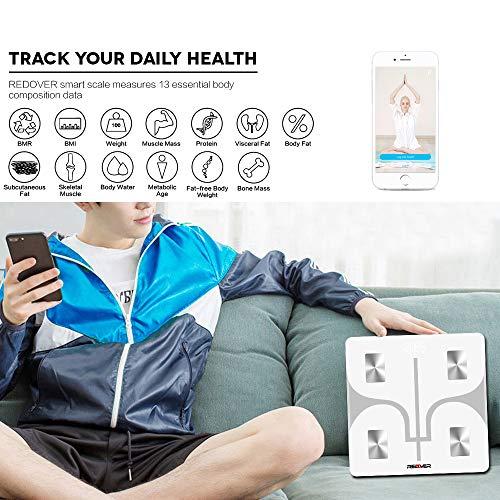 REDOVER-Bluetooth Body Scale with Free IOS Digital Bathroom Scale Body Body Water, BMI, BMR, Bone Mass Visceral Fat, 400lb