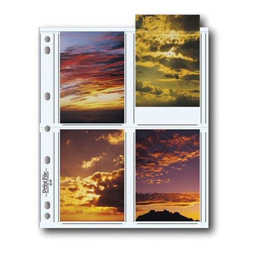 Print File Archival Photo Pages Holds Eight 3 1/2x5'' Prints, Pack of 100 by Print File