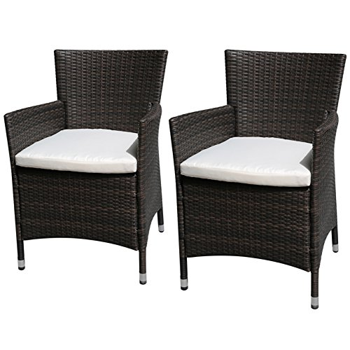 PATIOROMA 2 Pieces Outdoor Single Chairs Patio PE Wicker Arm Seat with White Cushions, Brown by PATIOROMA