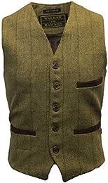 Men Tweed Waistcoat Formal Teflon Dress Gilet