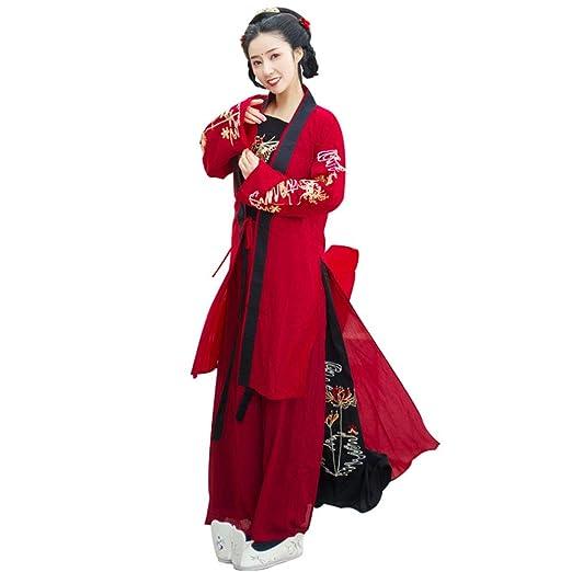 YCWY Traje para Mujer Chino Vintage, Hanfu Bordado Rojo para Mujer ...