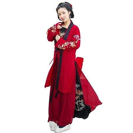 YCWY Traje para Mujer Chino Vintage, Hanfu Bordado Rojo para ...