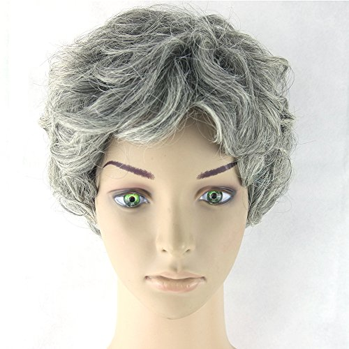 Granny Halloween For Costumes (Hawkko Curly Short Cosplay Women Wig Kanekalon Fiber Party Wigs (Granny)