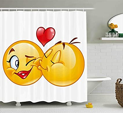 Ambesonne Emoji Shower Curtain Romantic Flirty Loving Smiley Faces Couple Kissing Eachother Hearts Image Art