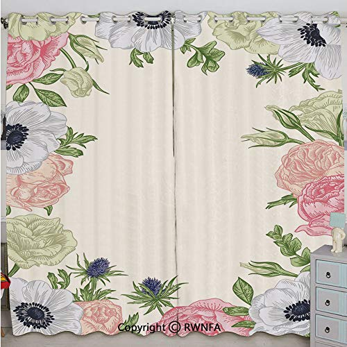 Justin Harve window Spring Nature Inspired Framework with Pastel Colored Flora Decorative Printed Curtain Set of 2 Panels(100