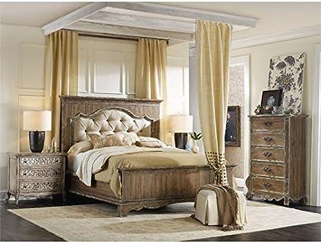 Amazon Com Hooker Furniture Chatelet 3 Piece King Upholstered Panel Bedroom Set In Light Wood Furniture Decor